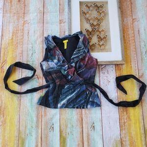 Catherine Malandrino Silk Printed Ruffle Wrap Top